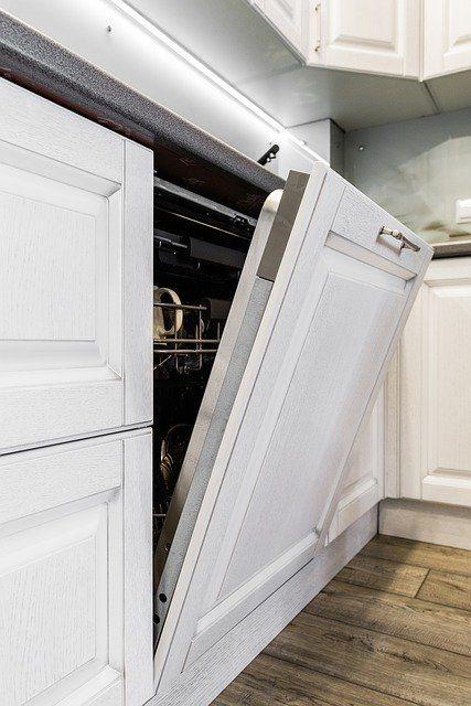 Geschirrspüler in den Küchenmöbeln eingebaut.